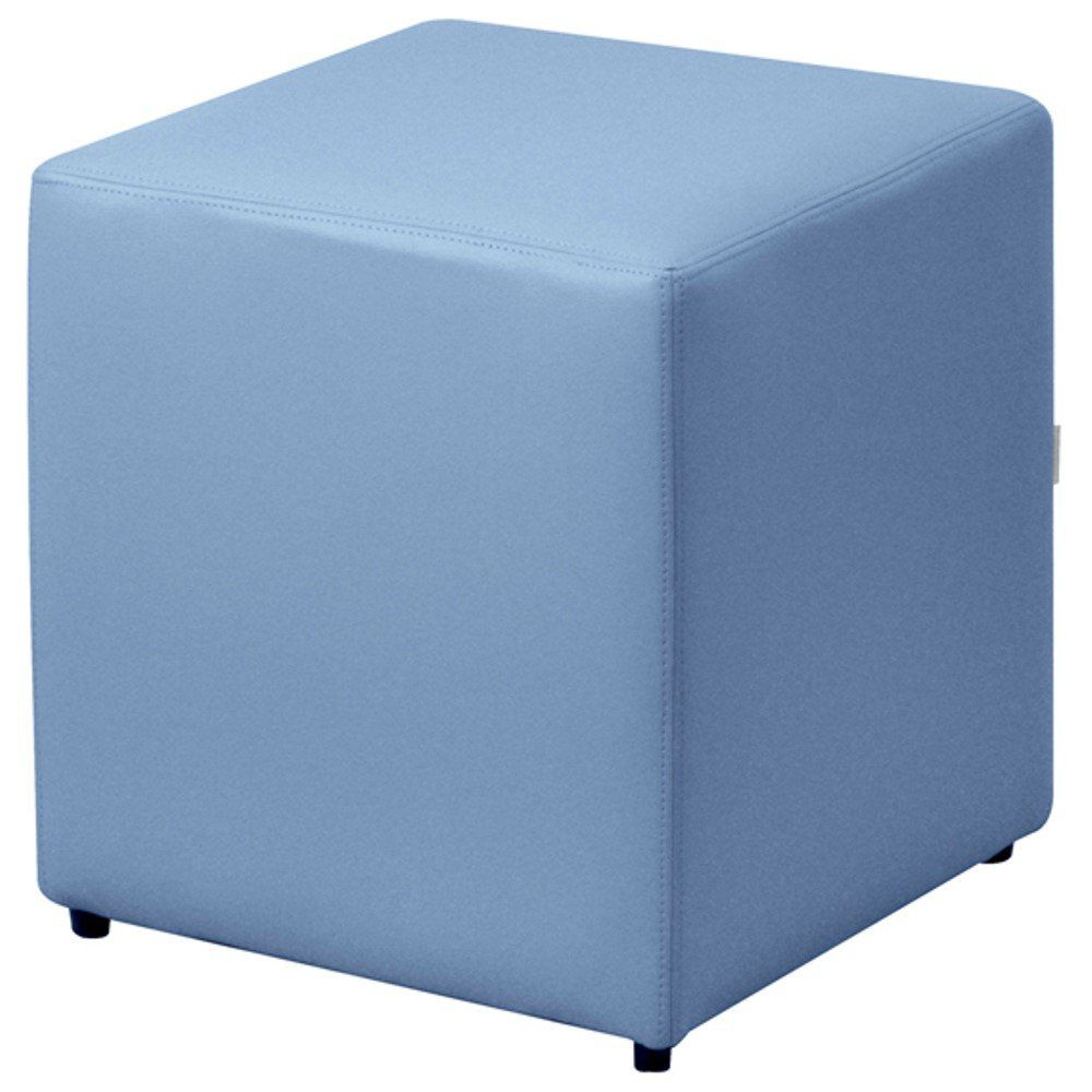 Puff Quadrado Decorativo L02 Corino Azul - Lyam Decor