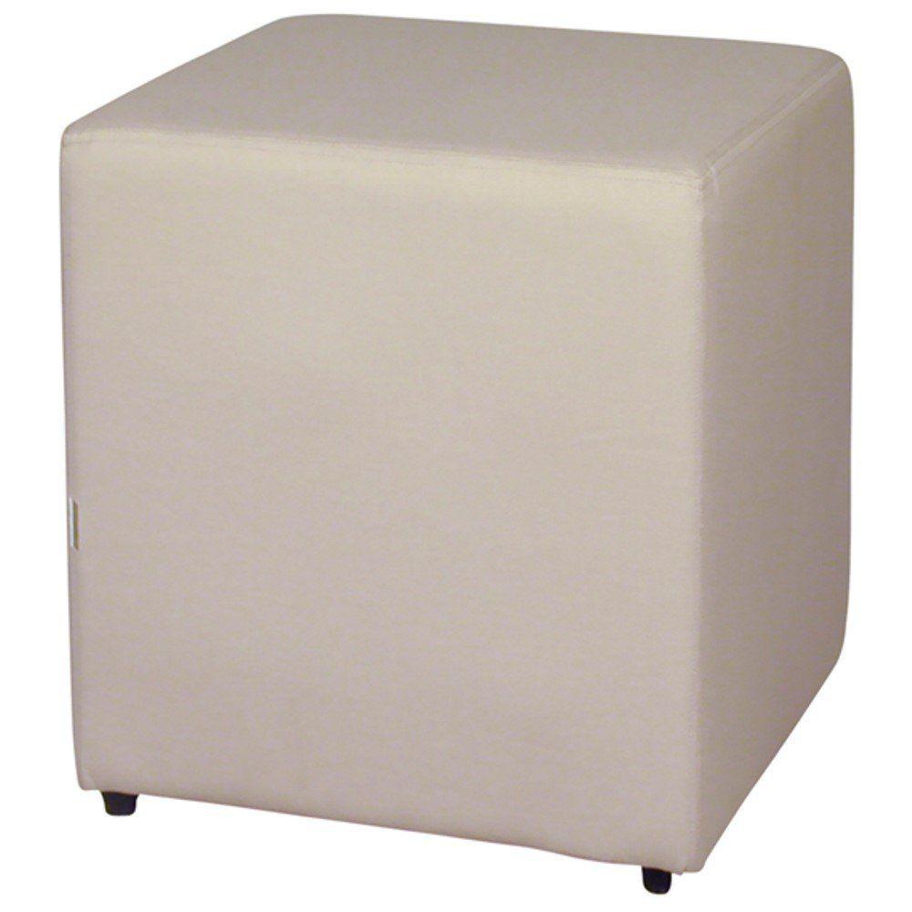 Puff Quadrado Decorativo L02 Corino Bege - Lyam Decor