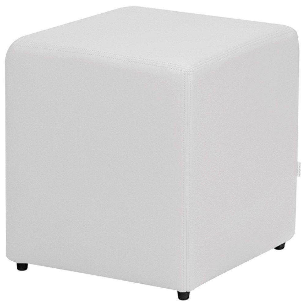 Puff Quadrado Decorativo L02 Corino Branco - Lyam Decor