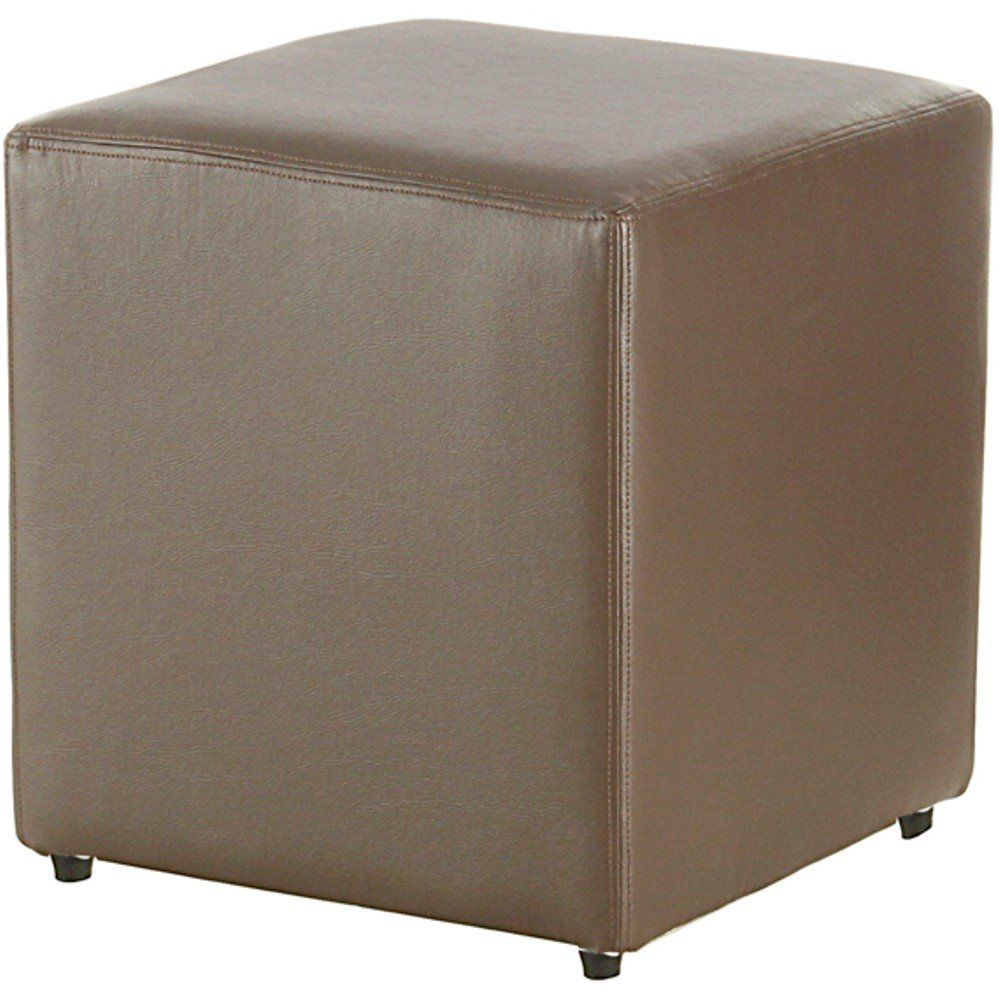 Puff Quadrado Decorativo L02 Corino Marrom - Lyam Decor