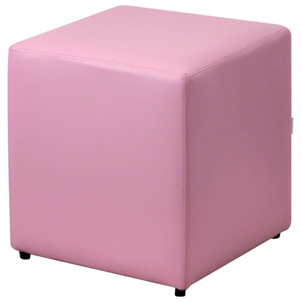 Puff Quadrado Decorativo L02 Corino Rosa - Lyam Decor