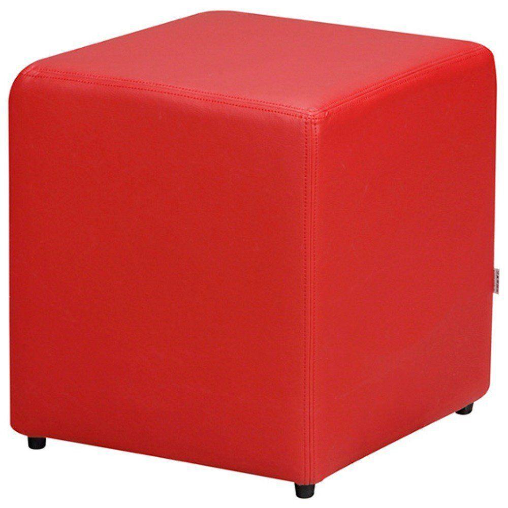 Puff Quadrado Decorativo L02 Corino Vermelho - Lyam Decor