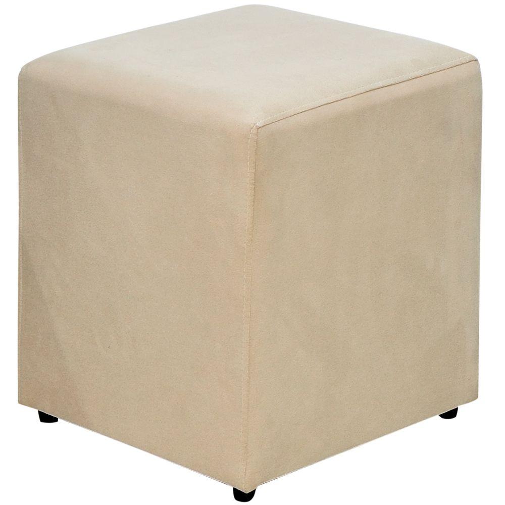 Puff Quadrado Decorativo L02 Sala de Estar Suede Bege - Lyam Decor