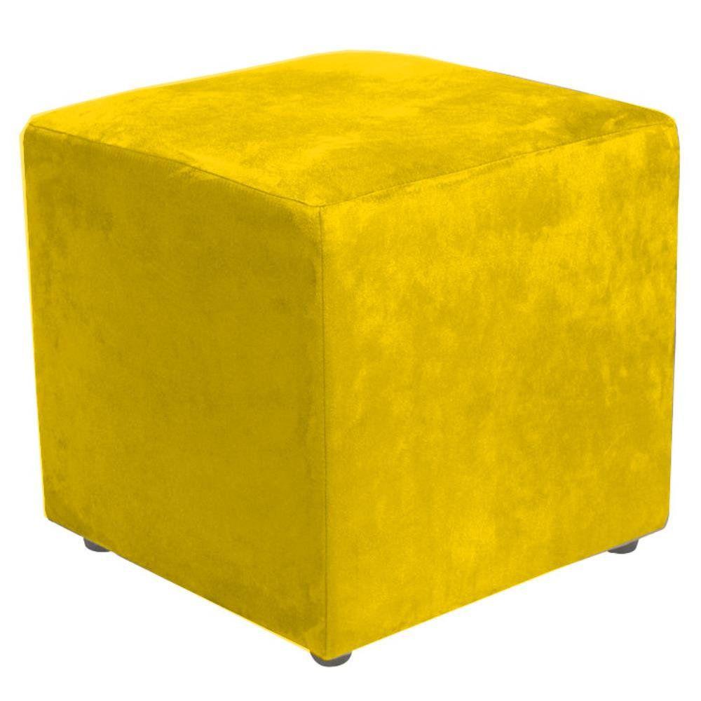 Puff Quadrado Decorativo L02 Suede Amarelo - Lyam Decor