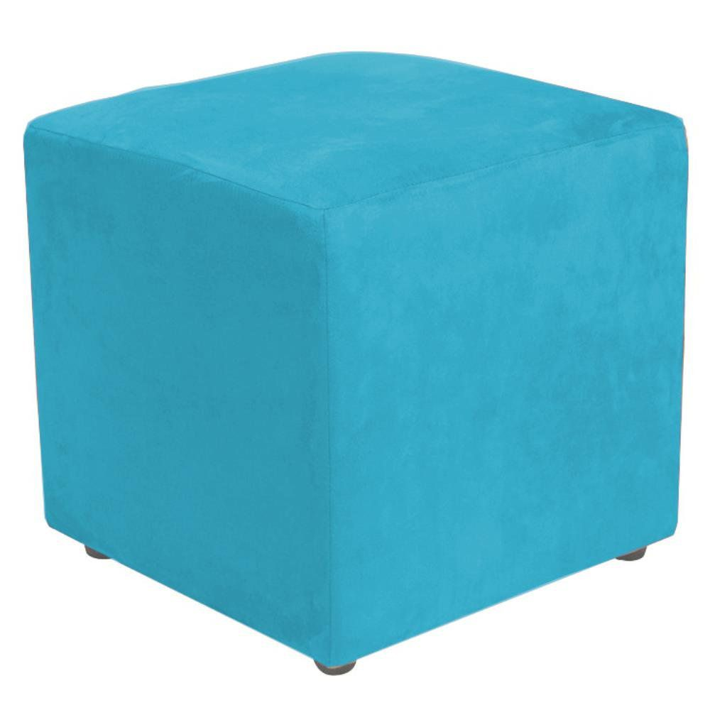 Puff Quadrado Decorativo L02 Suede Azul Claro - Lyam Decor