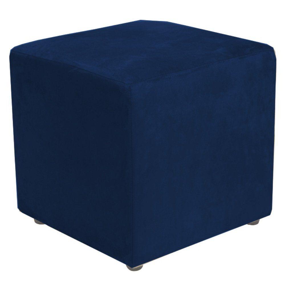 Puff Quadrado Decorativo L02 Suede Azul Marinho - Lyam Decor