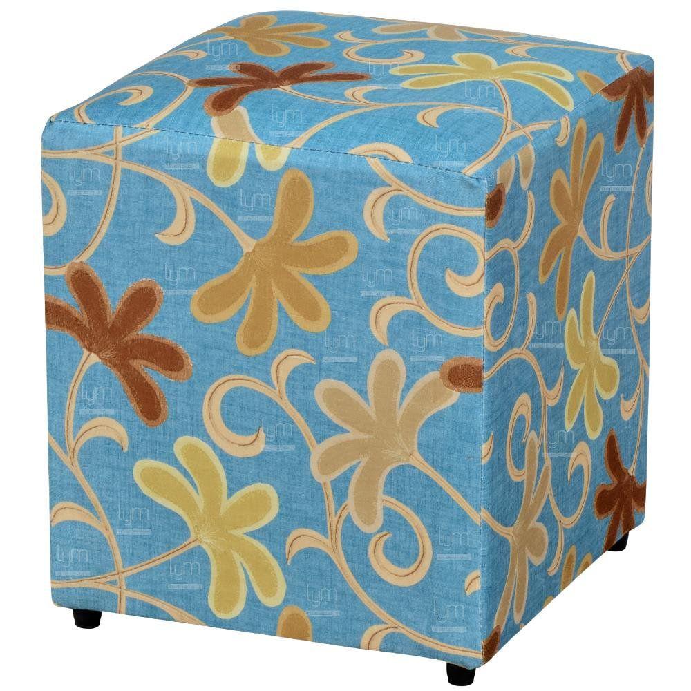 Puff Quadrado Decorativo L02 Suede Floral Azul - Lyam Decor