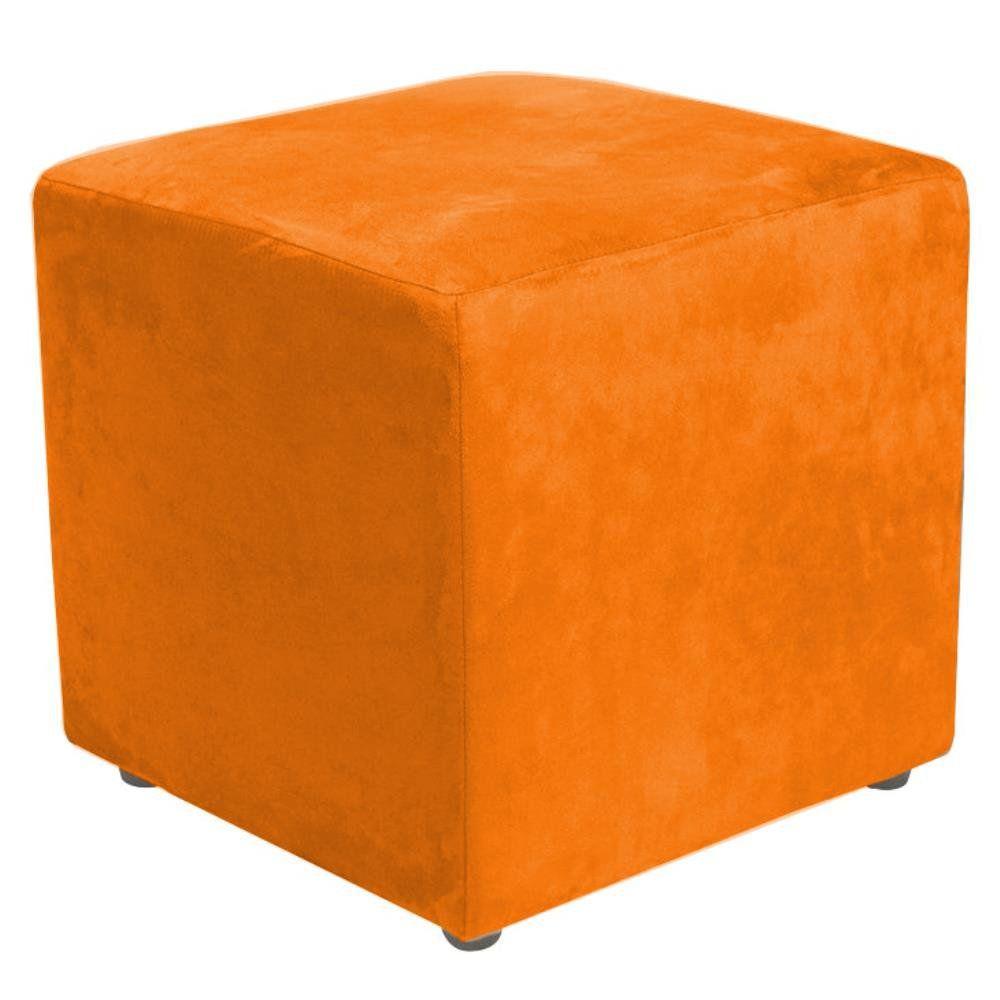 Puff Quadrado Decorativo L02 Suede Laranja - Lyam Decor