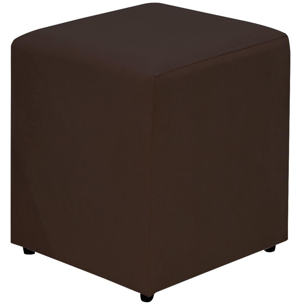 Puff Quadrado Decorativo L02 Suede Marrom- Lyam Decor