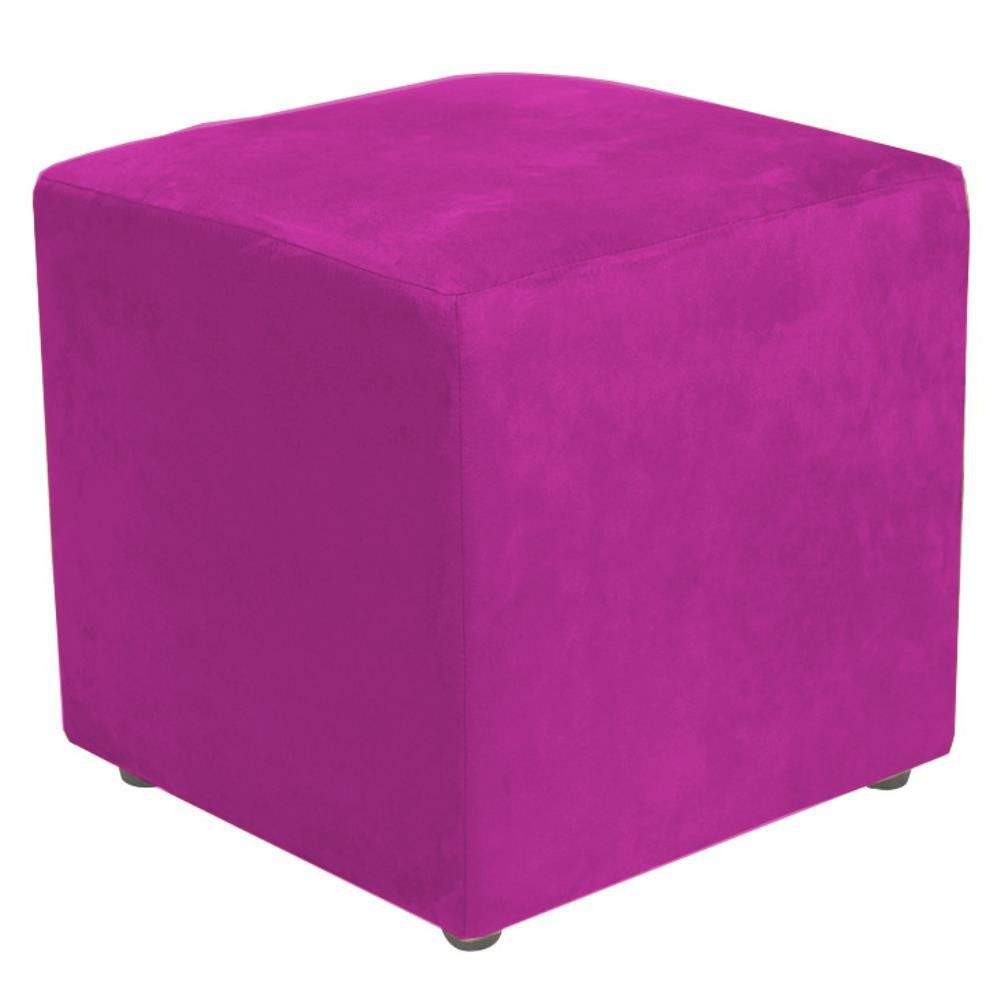 Puff Quadrado Decorativo L02 Suede Pink - Lyam Decor