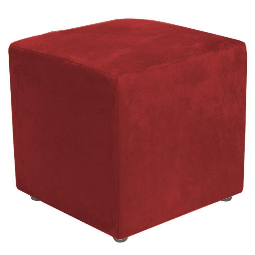 Puff Quadrado Decorativo L02 Suede Vermelho - Lyam Decor