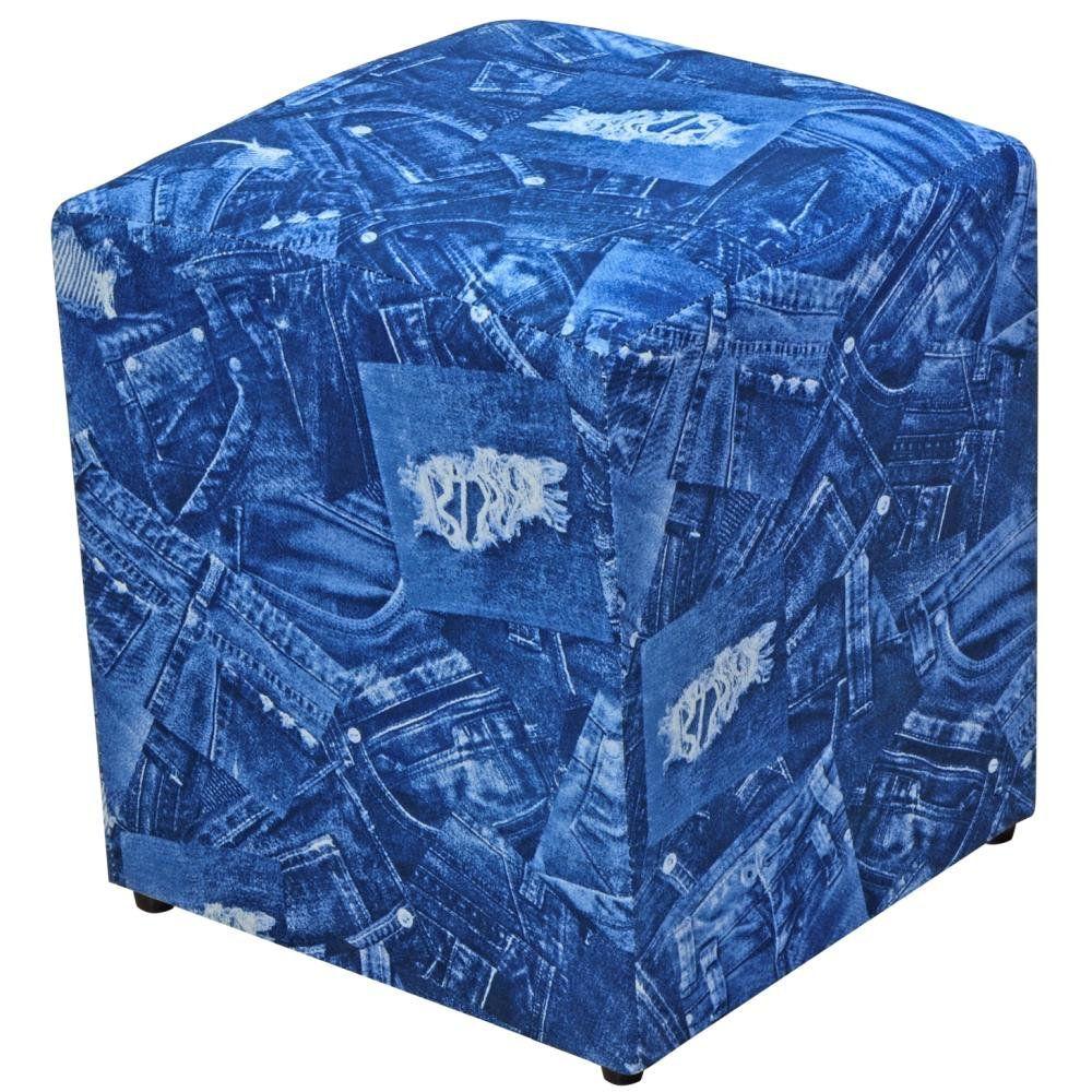 Puff Quadrado Decorativo L02 Tecido Azul Jeans - Lyam Decor