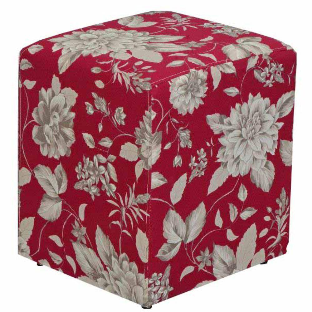 Puff Quadrado Decorativo L02 Tecido Cinza Vermelho - Lyam Decor
