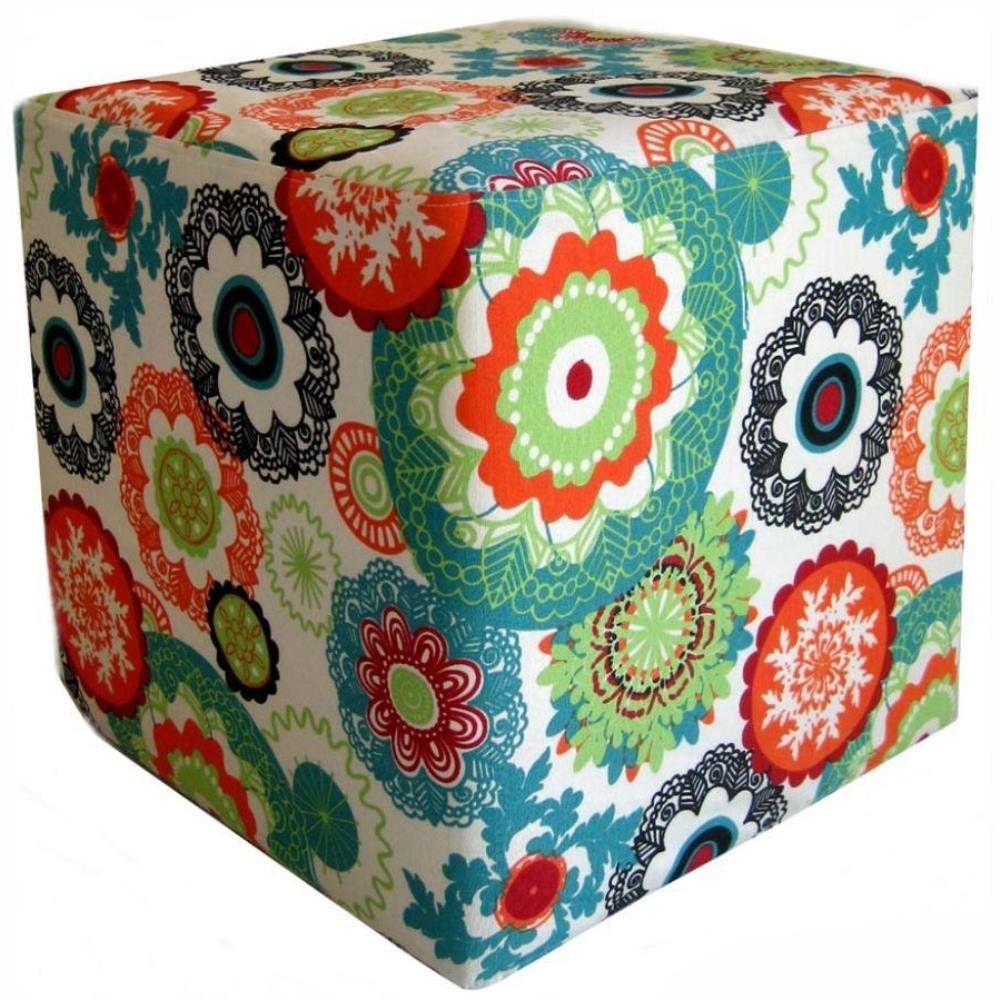 Puff Quadrado Decorativo L02 Tecido Floral Laranja - Lyam Decor