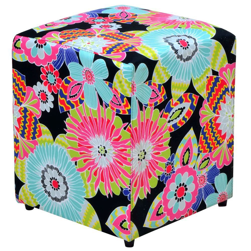 Puff Quadrado Decorativo L02 Tecido Floral Preto - Lyam Decor