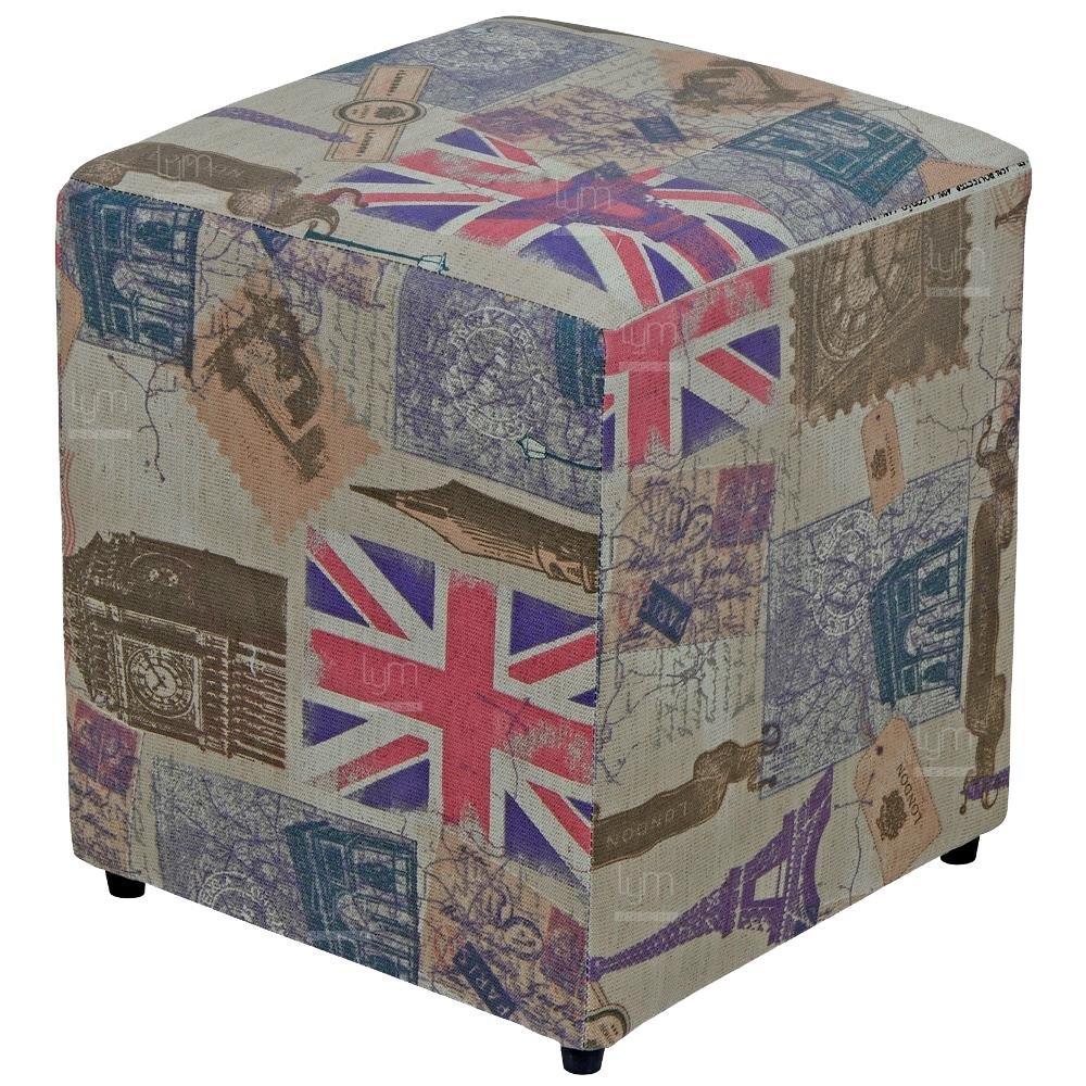 Puff Quadrado Decorativo L02 Tecido Linho London - Lyam Decor