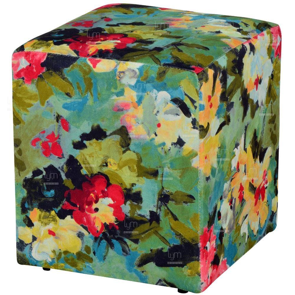 Puff Quadrado Decorativo L02 Tecido Manchado Verde - Lyam Decor
