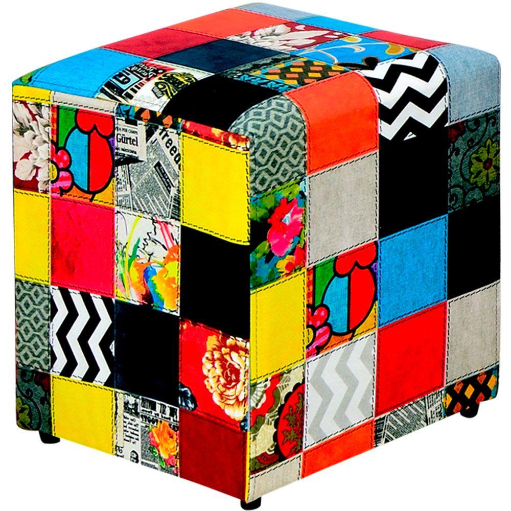 Puff Quadrado Decorativo L02 Tecido Patchwork - Lyam Decor
