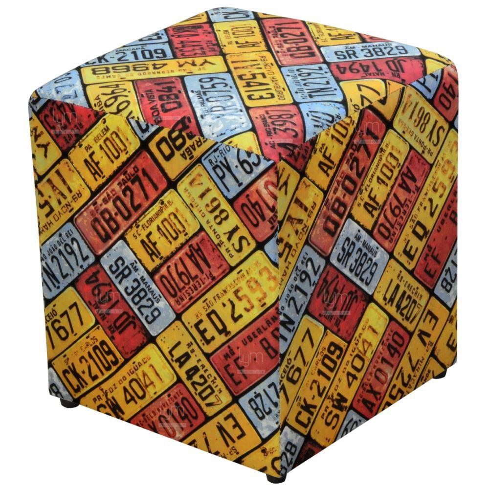 Puff Quadrado Decorativo L02 Tecido Placas - Lyam Decor