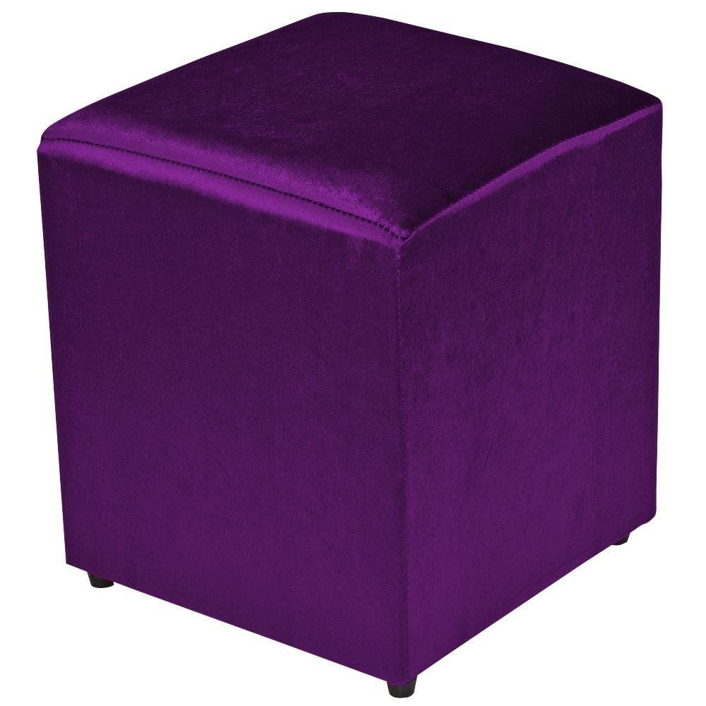 Puff Quadrado Decorativo L02 Tecido Roxo Brilho - Lyam Decor