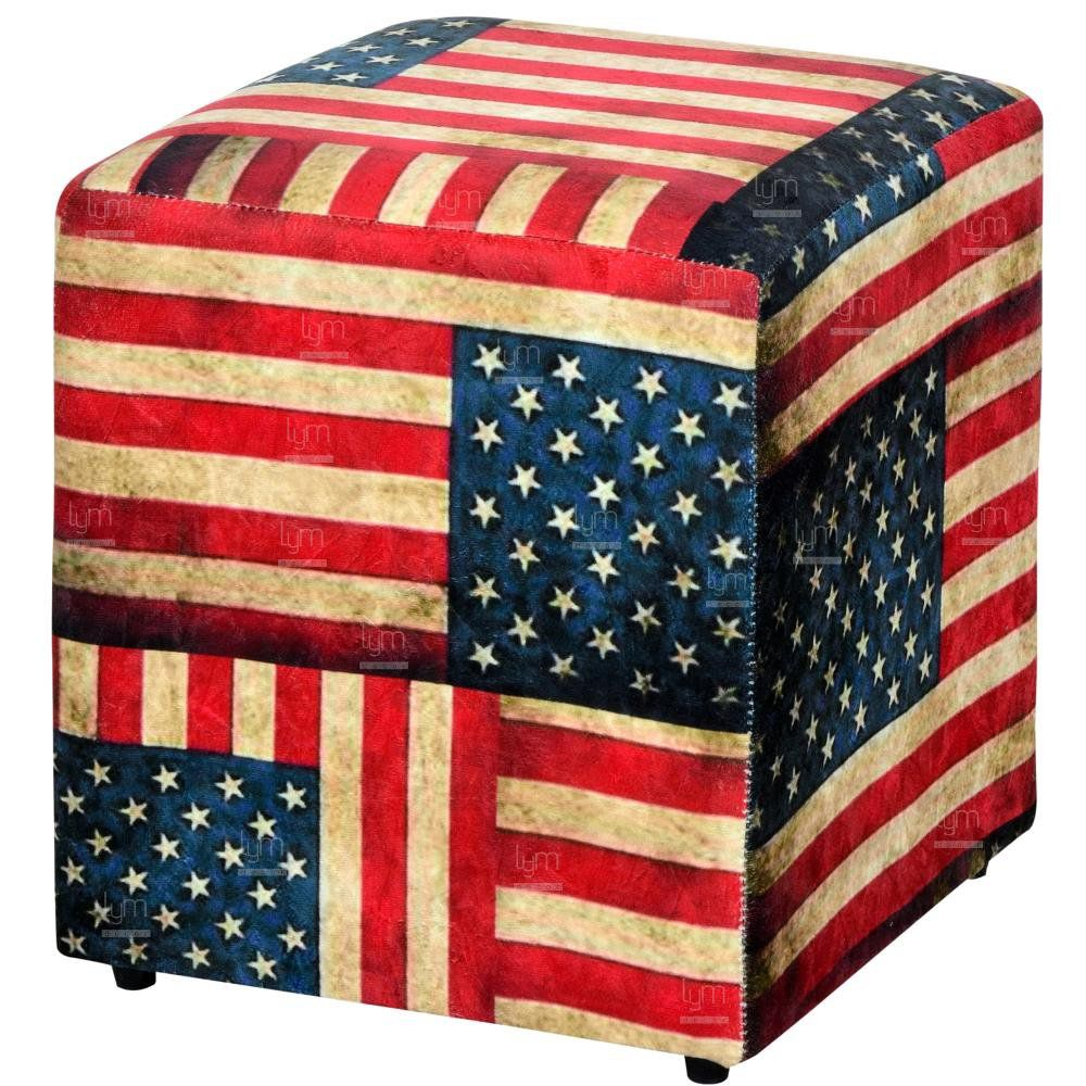 Puff Quadrado Decorativo L02 Tecido Suede Bandeira - Lyam Decor
