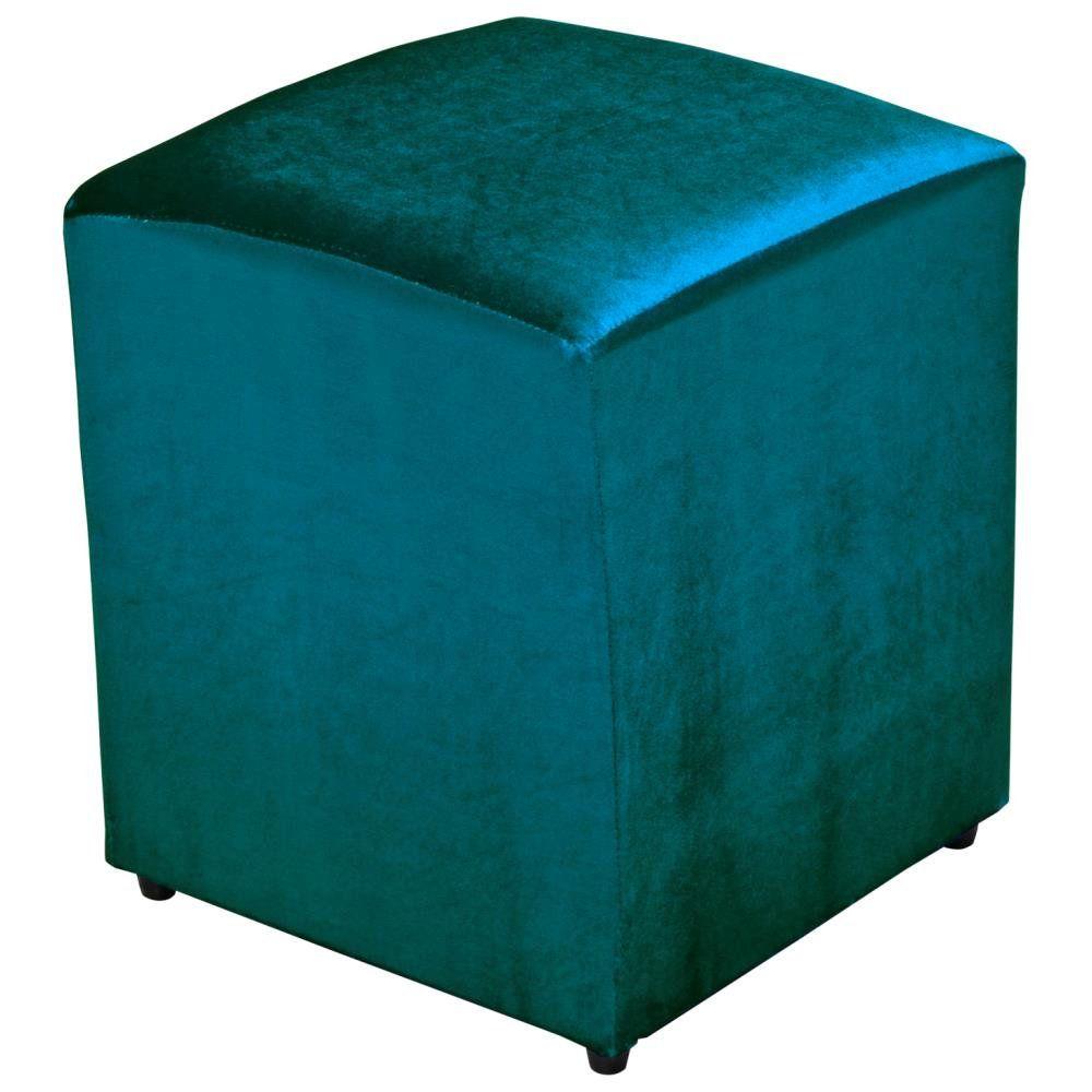 Puff Quadrado Decorativo L02 Tecido Turquesa Brilho - Lyam Decor