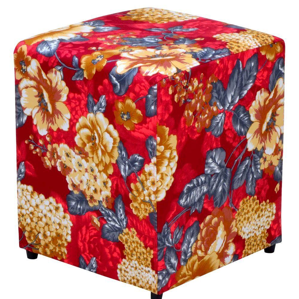 Puff Quadrado Decorativo L02 Tecido Vermelho Estampado - Lyam Decor