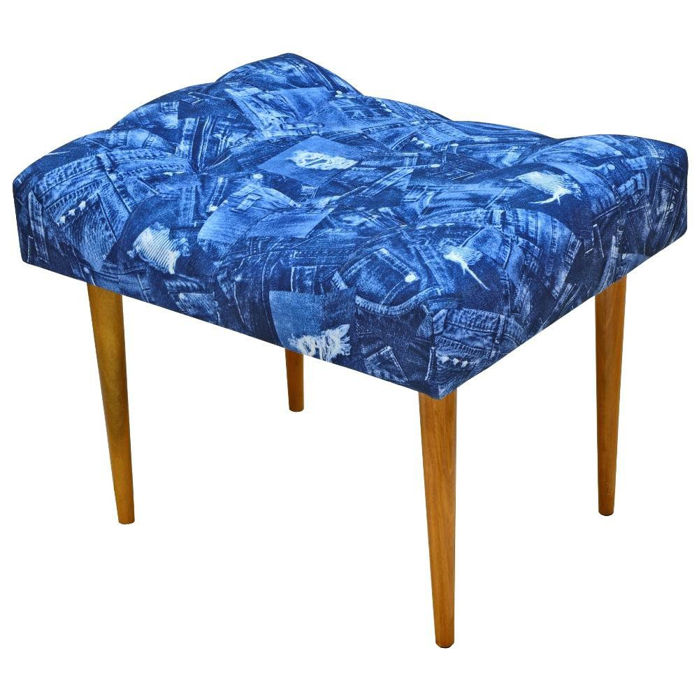 Puff Requinte L02 Capitone Banqueta Azul Jeans Pés Palito - Lyam Decor
