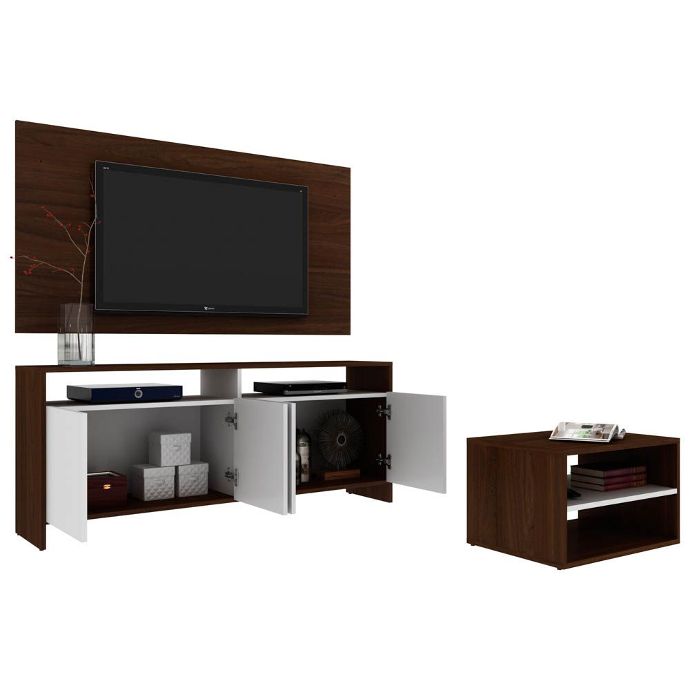 Rack Painel Para Tv Com Mesa De Centro Decorativo Light B03 Castanho Lyam Decor Complementos Lyam Decor Loja De Moveis E Decoracao Lyam Decor