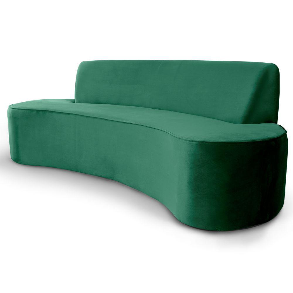 Sofá 4 Lugares Para Sala de Estar Bellus D02 Veludo Verde 260 cm B-303 - Lyam Decor
