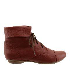 Ankle Boot Couro Legitimo com Cadarço Bordeaux