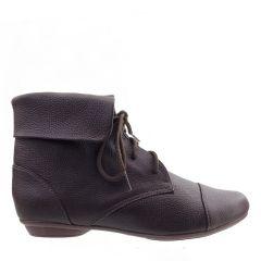 Ankle Boot Couro Legitimo com Cadarço Café