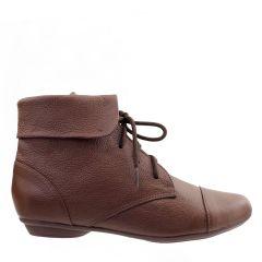Ankle Boot Couro Legitimo com Cadarço Chocolate