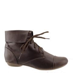 Ankle Boot Couro Legítimo com Cadarço Floater Café