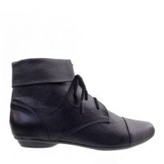Ankle Boot Couro Legitimo com Cadarço Preto