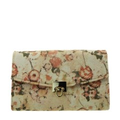 Bolsa Carteira com Corrente Floral Nude Glitter