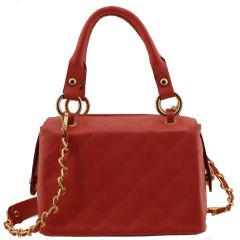Bolsa couro com Alça Corrente Vermelha
