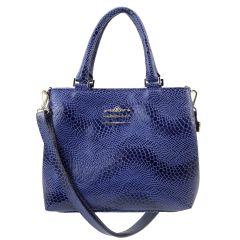 Bolsa Couro com Divisórias Azul Marinho
