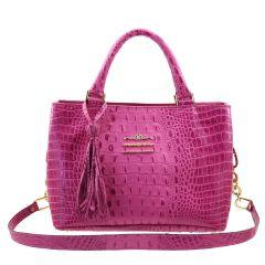 Bolsa Couro com Divisórias Pink
