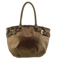 Bolsa Couro com Fivelas Bronze