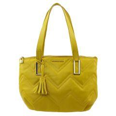 Bolsa de Couro com Matelassê Amarela
