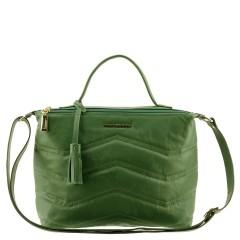 Bolsa de Couro com Matelassê e Alça Transversal Verde