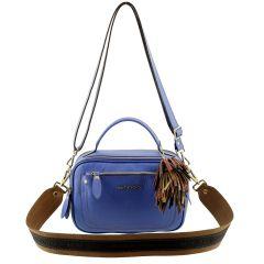 Bolsa de Couro Legítimo Pequena Azul