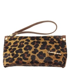 Bolsa de Mão ou Necessaire com Alça Pêlo Leopardo