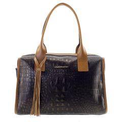 Bolsa Feminina Couro Legítimo Baú Bronze com Caramelo