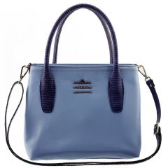 291ba7142 Bolsa Feminina de Couro Legítimo Azul Bebê com Azul Marinho