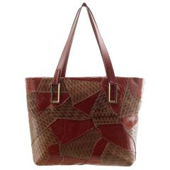 Bolsa Feminina Patchwork Bordeaux com Chocolate