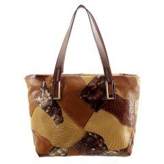 Bolsa Feminina Patchwork Chocolate com Caramelo