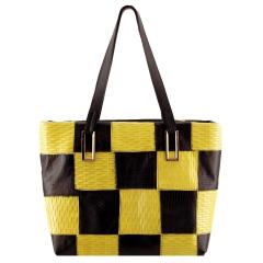 Bolsa Feminina Patchwork Preto com Amarelo