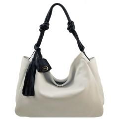 Bolsa Hobo Feminina Branco com Preto